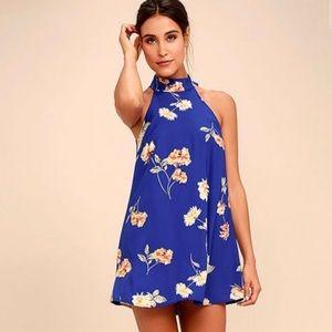 Lulus Blue Floral Halter mini dress